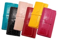 2014 NEW DESIGN candy color fashion lady long section of the tri-fold leather wallet leather factory wholesale