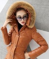 2014 New Brand women winter jacket X-Long Style Large Fur Collar Zipper Coldproof warm Slim Hooded coat Women duck down jacket