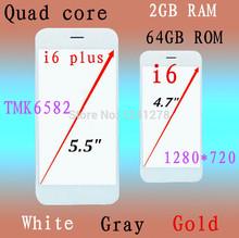 2GB RAM 16GB 32GB ROM i6 phone 4.7''HD 1280*720p Screen Android4.4 IOS8 Quad core MTK6582 8mp Camera 3G phone I6 plus Smartphone(China (Mainland))