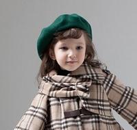 Wholesale 10pcs 2015 Pretty Girl Plain Wool Beret Caps NEW Boy Spring Blank Felt Berets Hats Kid Fall Wool Caps Children Trilby