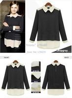 2014 Newly Cotton+Chiffon Blouses&Shirts Women Hoody Knitted Sweater Pullover Top Blouse Sweatshirt Women SV19 CB029446