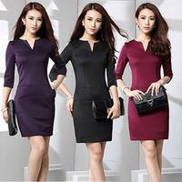 New fashion women V collar dress slim skinny party dress female elegant bag hip office dress workwear pencil mini dressLJ006XGJ