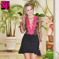 Fashion Summer 2014 pink lace stitching Casual Blouses Floar Women Tops Deep V Leopard Printed Women Blusas Femininas