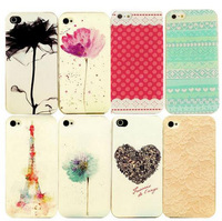 For Christmas New Year Gift Cartoon Cute Pattern 3D Paint Various Pattern Phone Hard Back Case Cover for Apple iPhone 4/4S EC016