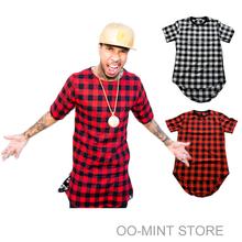 Zíper lateral xadrez estrela de alta qualidade olhar homem Hip Hop Hiphop Skakeboard Streetwear camiseta Tops T-shirt T-shirt dos homens ganhos Tyga estilo(China (Mainland))