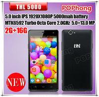 Original THL 5000 3G Android Mobile Phone MTK6592,Octa Core 5 inch 1920X1080 2G RAM Dual Cameras Back 13.0MP Dual SIM