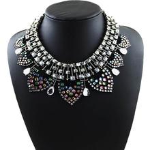 2014 ZA jewelry for women high quality new design vintage rhinestone metal choker statement necklaces