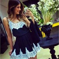Chiffon Lace Encajes Rendas Dress 2014 White Crochet Floral Lace Patchwork Black Dresses Vestidos Casual Mini Party Dress