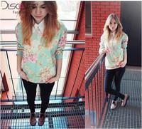 New 2015 Casual Sweatshirt Women Hoody Flower Printed Hoodies Cotton T Shirt Casual Sports Suit Women Printed Sweatshirt