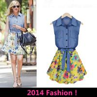 HOT! Free Shipping Korean Version New Spring and Summer Denim Stitching Chiffon Sleeveless Dress