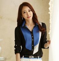 New 2014 S-XXXL Women Casual Blouse Shirts Long Sleeve Chiffon Office Top ladies blusas femininas Roupas