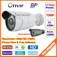 1.0 Megapixel 720P 36pcs IR leds HD network CCTV IP camera night vision Outdoor Waterproof P2P cloud,ONVIF 2 PC&Phone view