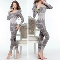 2014 New Fashion Women's Body Suits High Elastic Tight Wave Thermal Underwear O-Neck Winter Warm Sexy underwear set B26