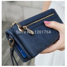 Mode féminine Portefeuilles Cuir Dull polonaise Wallet Jour Double Zipper Clutch Purse Wristlet Portefeuille Sacs à main Carteira Feminina(China (Mainland))