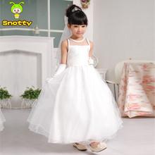 Barato vestido da menina flor branca vestido longo simples para 2-12 years old baratos longos vestidos de noite KD-14258(China (Mainland))