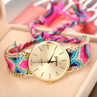 2014 New Arrival Handmade Rope Bracelet Wristwatch Bohemia Geneva Golden Chain Fabric Dress Watch Fashion Women Casual Watch