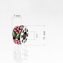 2015 10 pcs 11mm Antique Alloy European Beads Flower Heart Carved Beads Fit Pandora Jewelry Findings