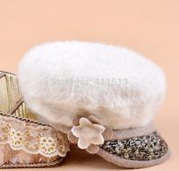 New New! 2014 Brand New Fashion Winter  Wool  Warm Soft Women Flower Floral Rabbit Fur Berets Beanie Ski Hats Caps (8 Colors)