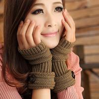 Sale !2014 Autumn Winter Women Wool Arm Gloves Button Knitted Mitten Long Lengthen Half-finger Gloves (6 Colors)