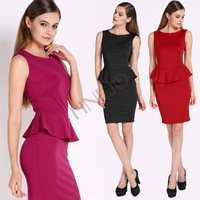 Free Shipping! Formal Pencil Office Career Bodycon Dress OL Sexy Peplum O Neck Dress Black Purple Red 5 Sizes b14 SV008952