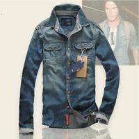 T1083 2014 New arrival Men Casual jeans Shirts 100% cotton Mens Long sleeve Denim Shirt Spring&Autumn Men's Slim Fit dress shirt