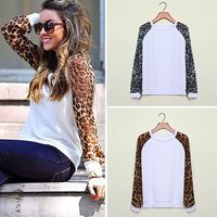 FanShou Free Shipping 2014 Women Hoody Spring Autumn Sport Suit Leopard Print Fleece French Terry Sweatshirt Women Hoodies