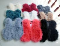 2014 Natural Ostrich Fur Vest Genuine Fur Waistcoat Real Fur Women Jacket color sleeveless short vests colete feminino