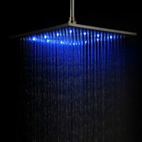 12 inch Stainless Steel Shower Head with Color Changing LED Light QH325BSF