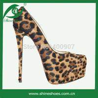 Sexy leopard print women platform shoes high heels