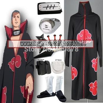 ¡CALIENTE !!! ENVÍO GRATIS Naruto Akatsuki Hidan Cosplay Costume Set cualquier tamaño para cosplay y Halloween