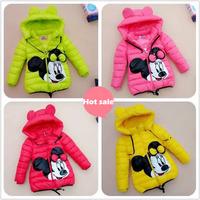 2015 children Outerwear Coats cotton-padded jacket for girls minnie mouse Down & Parkas warm children winter outwear