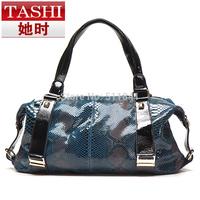 2014 serpentine pattern cowhide women's bags sexy genuine leather shoulder bag fashion handbag fashion trend of the women's