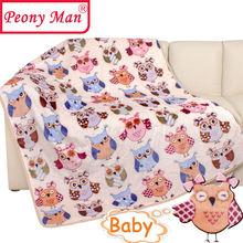 New Hot 80 * 100 cm flanelle couverture de bébé pivoine Man marque Cartoon Super Soft couvertures enfant feuille épaisse chaud printemps polaire Cobertor(China (Mainland))