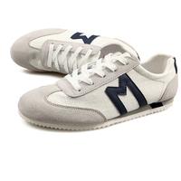 Letter M Decor Men Casual Canvas Shoes Eu 39-44 Grey Color Suede Leather Patchwork Style Man Lace-up Fashion Sneakers