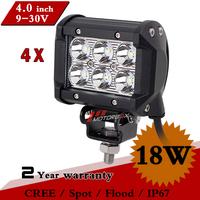 4pcs 4 Inch18W CREE LED Work Light 12V 24V IP67 Led Fog Off Road Light For Truck ATV 4x4 Tractor Save on 36W 72W External Light