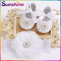 Party decoration baptism Baby shoes headband set,pearl first walker,Rhinestone shabby flower calcados infantil #2T0001 4 set/lot