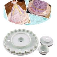 3pcs Skirt Rim Plunger Cutter Mold Sugarcraft Fondant Cake Decorating DIY Tool