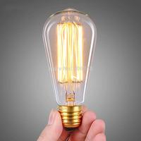1PCS E27 Edison Bulb 40w 60w Vintage Retro Water Shape/Bottle Shape 110V,220V Warm White Industrial Style Antique Lamp Lights