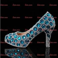 Wholesale Rhinestone Custom Handmade Crystal Ladies Pump Shoes 2014 Black Leather Solid Drilex Punk Platform Red Bottoms Shoes