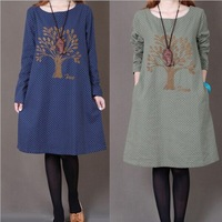 2015 casual dress Korean loose plus size dress long-sleeved o-neck embroidered large size winter dress women vestido