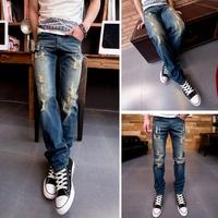 2015 Spring  PP Fashion Men Jeans Famous Slim Straight Blue Jeans Washed Denim Long Pants Fit Men High Quality size: 28-40