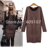 5XL Plus Size Winter Casual Dress,Handmade Crochet Sweater Dress,Vestido Informal,Long Sleeve Retro Dress Large Size Pullovers