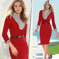 2014 Top Quality Women Lady Sexy Fashion Turn-down Callar Peplum Dress Party Bodycon Dresses Plus size S M L XL SV22