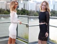 Beauty online New Sexy 2014 Fashion Autumn Long Sleeve Dress Paisley Patterned Lace  Dress Set LC21755
