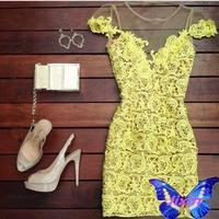 Fashion Women Elegant Yellow Lace Dress Beautiful Bodycon Vestido Amarelo De Renda Festa O-Neck Sleeveless  Sexy Club Mini Dress
