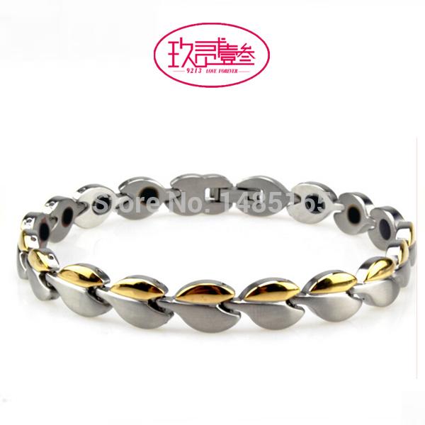 Handmade bracelet for female, best Christmas gift, gold plated /rose gold stainless steel magnetic bracelet , free shipping(China (Mainland))