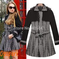 New style 2014 streetwear women plaid pattern coat fashion sashes black white warm outer wear drop shipping ST206