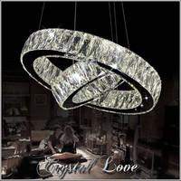 Hot sale LED K9 Crystal Ring Pendant Light Lamp Lustres De Cristal Suspension Modern LED Light Fixture MD2226