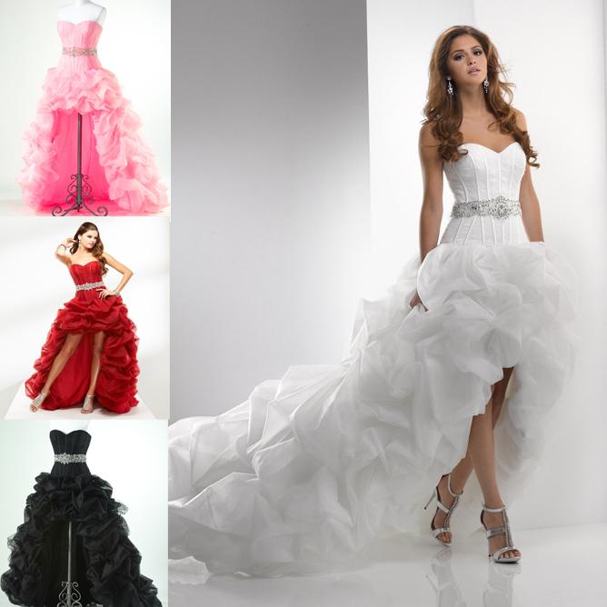 YAYIKU High Quality Short Front Long back Ruched Wedding Dresses Slim Plus Size Wedding Dresses Size Custom Made Ball Gown 2015(China (Mainland))