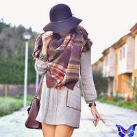 2014 New Arrival Winter Women Scarves Square Scarf Brown Spanish Brand Plaid Scarf Shawl Bufandas 140*140Cm